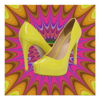 Yellow High Heels & Colorful Pattern Poster