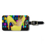 Yellow High Heels & Colorful Square Grids Bag Tag