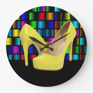 Yellow High Heels & Colorful Square Grids Large Clock