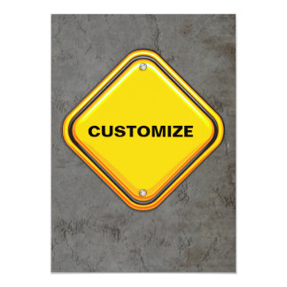 Yellow Highway Caution Sign Custom Announcement