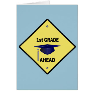 Yellow Highway Sign 1st Grade Ahead Card