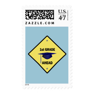 Yellow Highway Sign 1st Grade Ahead Postage