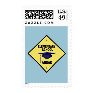 Yellow Highway Sign Elementary School Ahead Stamps