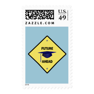 Yellow Highway Sign Future Ahead Postage Stamps