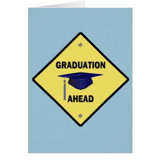 Yellow Highway Sign Graduation Ahead Card