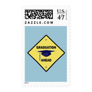Yellow Highway Sign Graduation Ahead Postage