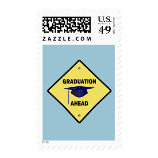 Yellow Highway Sign Graduation Ahead Postage Stamps