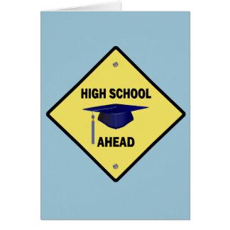 Yellow Highway Sign High School Ahead Card