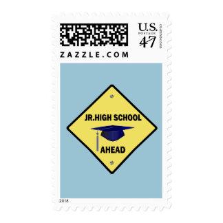Yellow Highway Sign Jr. High School Ahead Postage