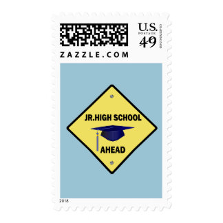 Yellow Highway Sign Jr. High School Ahead Stamp
