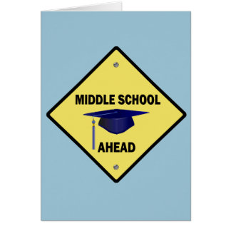 Yellow Highway Sign Middle School Ahead Card