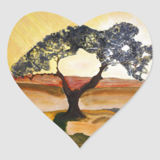 Yellow Hill Top Tree Landscape Painting Heart Sticker