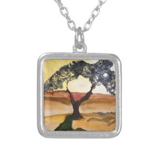 Yellow Hill Top Tree Landscape Painting Silver Plated Necklace