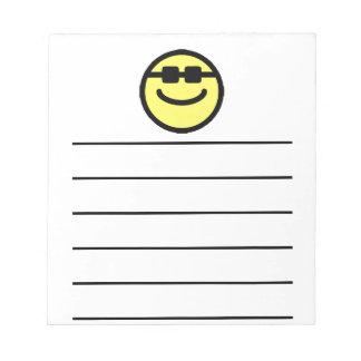 Yellow Hip Black Shades Smiley Face Notepad
