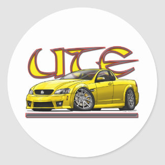 Yellow_Holden_UTE.png Classic Round Sticker