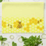 Yellow Honeybee Honeycomb Kitchen Towel