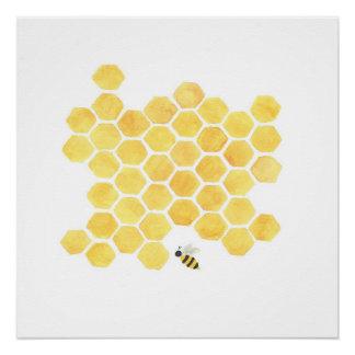Yellow honeybee painting art wall decor poster