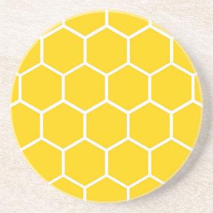 Yellow honeycomb pattern drink coaster