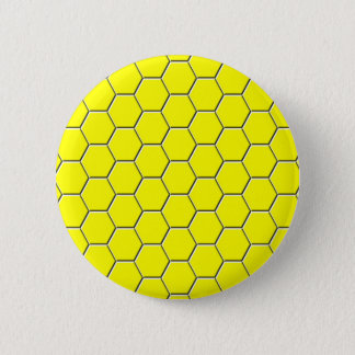 Yellow honeycomb pattern pinback button