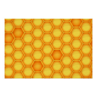 Yellow Honeycomb Pattern Poster