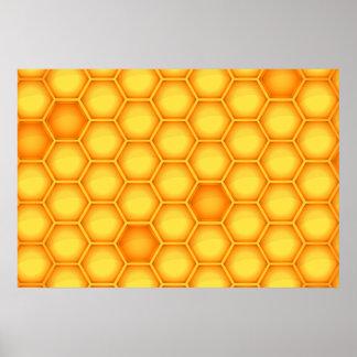 Yellow Honeycomb Pattern Poster