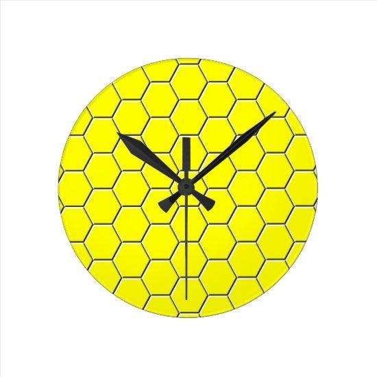 Yellow honeycomb pattern round clock