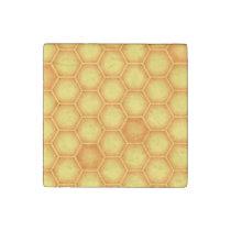Yellow Honeycomb Pattern Stone Magnet