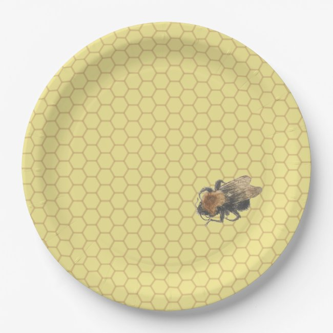 Yellow Honeycomb Pattern & Vintage Honeybee