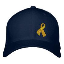 Yellow Hope Ribbon Solidarity Embroidered Baseball Cap