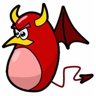 yellow horned red devil bat statuette