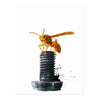 Yellow Hornet On Bolt Postcard