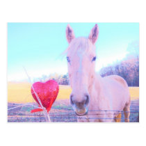 Yellow Horse and Red  Heart Postcard