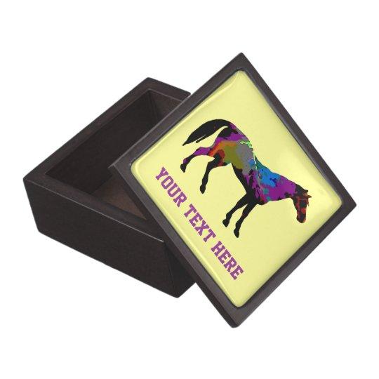 Yellow Horse Racing Design Keepsake Box