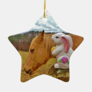 Yellow Horse, Spring Rabbit Ceramic Ornament