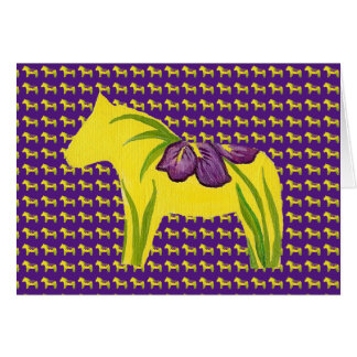 Yellow Horse with Iris Note Card