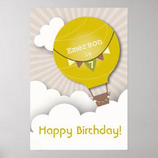 Yellow Hot Air Balloon Birthday Poster