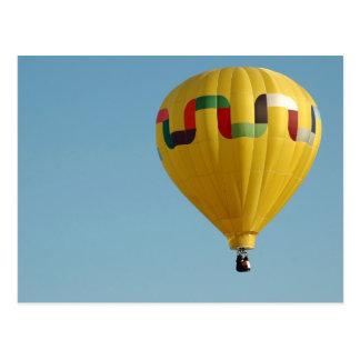 Yellow Hot Air Balloon Vintage Postcard