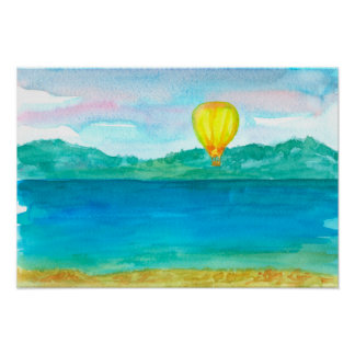Yellow Hot Air Balloon Watercolor Painting Poster