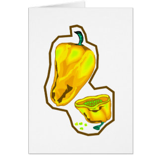 Yellow hot peppers one cut in half card