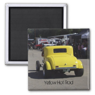Yellow Hot Rod 2 Inch Square Magnet