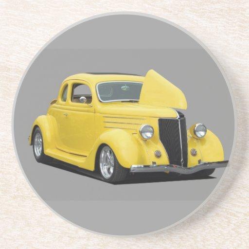 yellow hot rod car beverage coaster