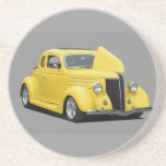 yellow hot rod car drink coaster