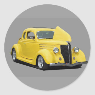yellow hot-rod car round stickers