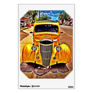 Yellow Hot Rod Muscle Car Removable Wall Decal
