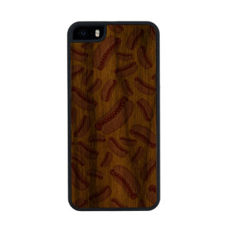 Yellow hotdogs carved® walnut iPhone 5 case