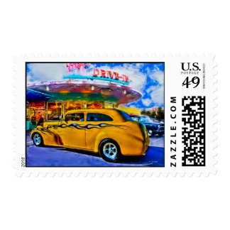 yellow hotrod at drive-in postage stamp