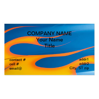 yellow hotrod flames on blue Double-Sided standard business cards (Pack of 100)