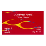 yellow hotrod  flames on red business card