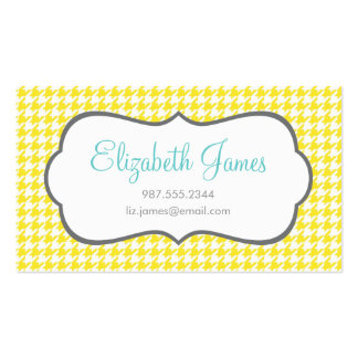 Yellow Houndstooth Business Card Template
