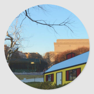 Yellow House In Park Classic Round Sticker